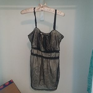 Torrid tan and black lace tank top